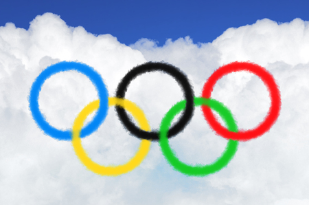 Olympic games symbol colored rings from clouds of steam. Russia, Moscow, 09 February 2018