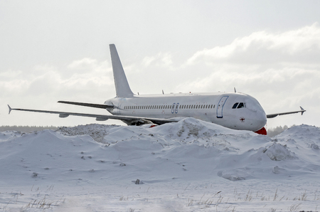 Aircraft covered by snow after a snow storm Banco de Imagens