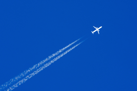 White aircraft big two engines aviation airport contrail clouds