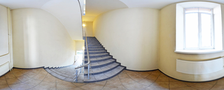 Spherical 360 degrees panorama projection, panorama in interior empty corridor with a flight of stairs