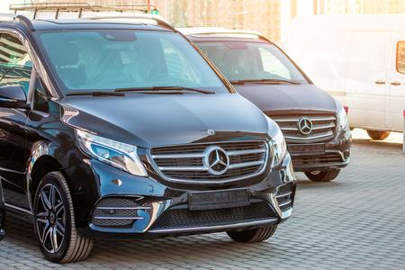 Black luxury van two Mercedes-Benz minivan. Russia, Saint-Petersburg. 14 april 2018