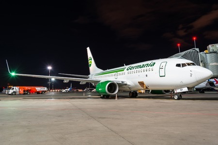 Boeing 737-700 Fly Germania. First flight, meeting Russia, Saint-Petersburg. Pulkovo airport 27 April 2018