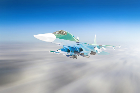 Military fighters jet aircraft on a combat mission, flying speed motion high in the sky