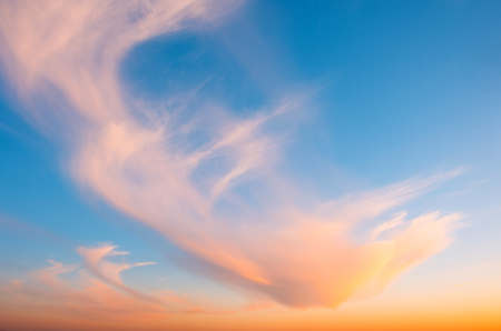 Cirrus clouds at sunset with gradient sky Stock Photo