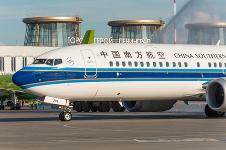 Boeing 737-8 max China southern, Meeting a new type of airplane model, a water arch. airport Pulkovo, Russia Saint-Petersbur. 02 June 2018 Редакционное