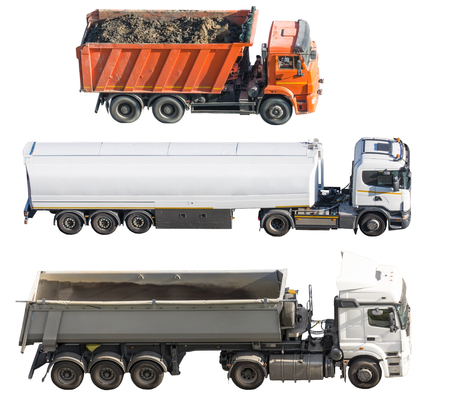 Three different trucks isolated on white background. Side view. Truck with trailer and tank, bulk cargo, tippers Banque d'images