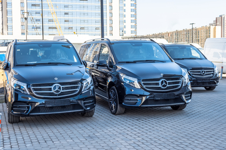 Black luxury van three Mercedes-Benz minivan. Russia, Saint-Petersburg. 14 april 2018.