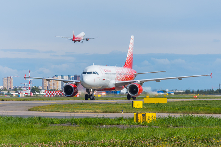 Airbus a319 Rossiya airlines, airport Pulkovo, Russia Saint-Petersburg. August 15 2018