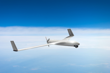 Unmanned military drone on patrol air sky at high altitude