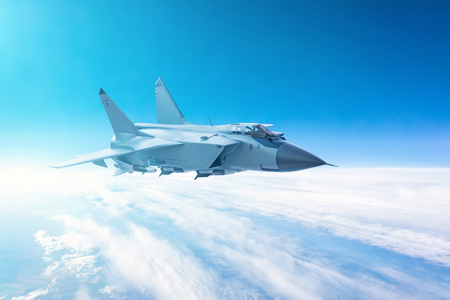 Fighter jet flying with a blue sky background Stock Photo - 110876948