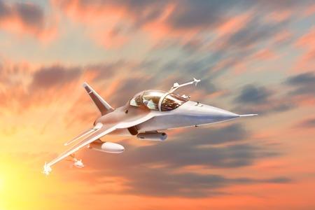 Manœuvre de vitesse militaire d'avion de chasse dans la base aérienne de vol à l'heure du coucher du soleil