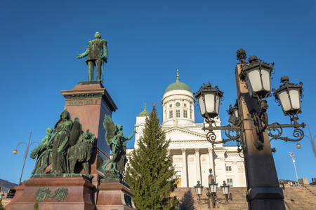 Helsinki Cathedral with a monument to Alexander II and streetlights Stok Fotoğraf