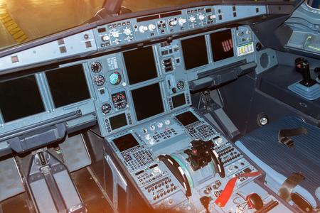 Cockpit aircraft cold and dark pilot view Фото со стока