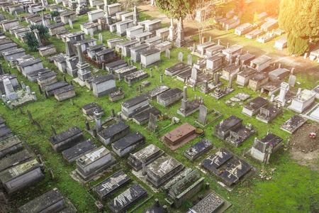 Old cemetery, many graves. View from height Standard-Bild - 115739396