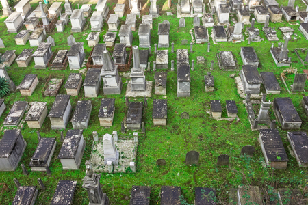 OOld cemetery, many graves. View from height