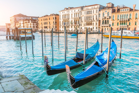 Venice with gondolas on Grand Canal and typical city houses Standard-Bild