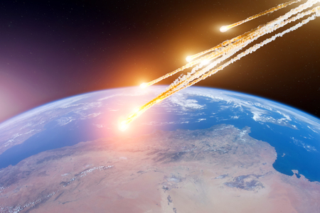 Attack of the asteroid meteor on the Earth.