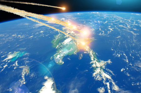 Meteorite falling from space over island Cuba, explosion in the atmosphere.
