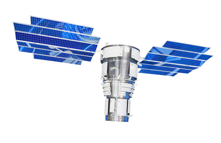 Orbital satellite of remote observation of the Earth surface, as well as communications. With large solar panels. Isolated on white background. Banco de Imagens