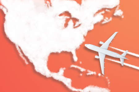 Model airplane design miniature red background fluffy clouds in the shape of continent North America. The idea of tickets for the trip, traveling by plane, new discoveries, summer holidays. Stockfoto