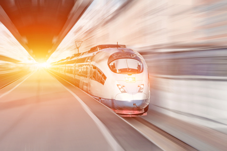 High-speed passenger station, train journey. Abstract light motiom blur effect.