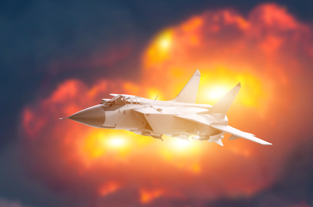 Fighter jet aircraft flying backdrop of a powerful explosion. War strike concept.