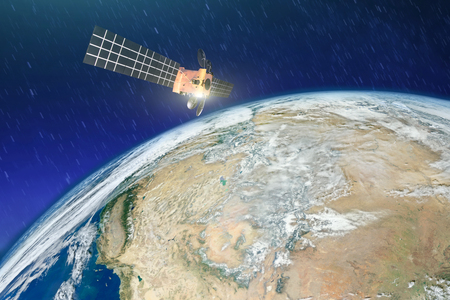 Weather satellite over the desert drought in Earth orbit.