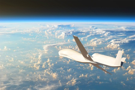 Unmanned aircraft flying in the upper atmosphere, the study of the gas shells of the planet Earth.