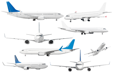 Set of six aircraft isolated from the white background 免版税图像