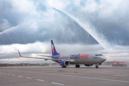 Meeting the first flight at Pulkovo Airport boeing 737-800 Smartavia Nordavia Russia, Saint-Petersburg, 10 april 2019
