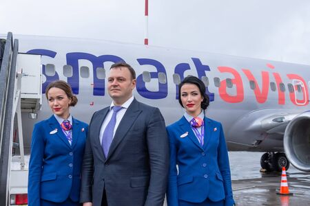 Flight attendants, meeting the first flight at Pulkovo Airport boeing 737-800 Smartavia Nordavia Russia, Saint-Petersburg, 10 april 2019
