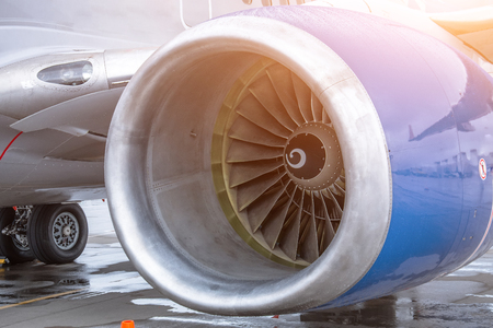 View of the engine of the aircraft blade and landing gear Stock Photo