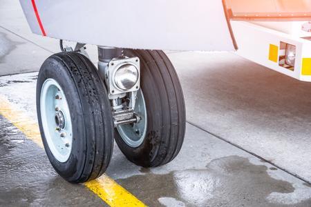 Front wheel aircraft landing gear, close up