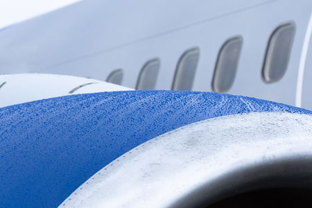 View of the engine of the aircraft, raindrops on a wet surface Stock Photo
