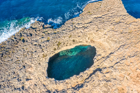 Aerial top view over the Coral Lagoon in Mellieha view on cape of Malta island 免版税图像