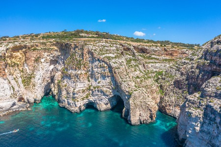 Blue Grotto in Malta, aerial view from the Mediterranean Sea to the island
