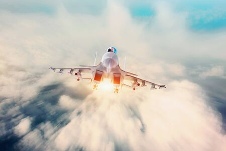 Aircraft fighter jets against the background of bright light shine