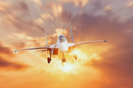 Aircraft fighter jets with the chassis released maneuvers against the background of bright light shine