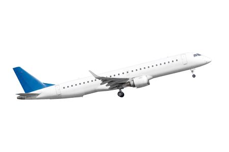 Startujący samolot pasażerski, na białym tle Zdjęcie Seryjne
