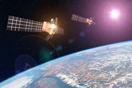 Grupowy satelita kosmiczny krążący wokół Ziemi i jasne światła słoneczne odbite od paneli słonecznych. Elementy tego obrazu dostarczone przez NASA