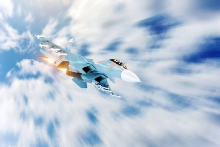Fighter jet maneuver with afterburner in the sky. Conflict, war. Aerospace forces