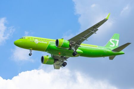 Airbus a320 Neo S7 airlines, airport Pulkovo, Russia Saint-Petersburg. 10 August 2019