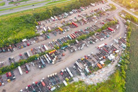 Aerial top view semi truck cargo trailer parking 스톡 콘텐츠