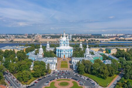 Aerial view Smolny cathedral in Saint Petersburg, Russia Stock fotó
