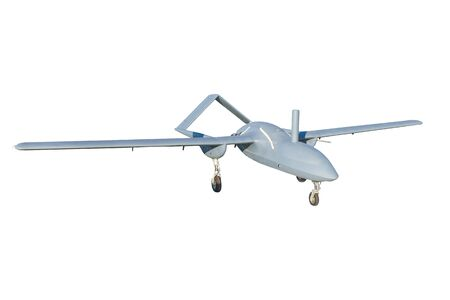 Military combat UAV drone isolated on white background