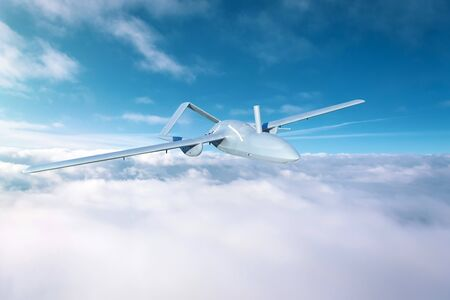 Unmanned aerial vehicles in the sky flying over dense clouds over the territory of patrol