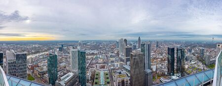 Panorama of the city skyscrapers railway station, view to the west from the Main tower. Frankfurt am Main, Germany. 16 December 2019