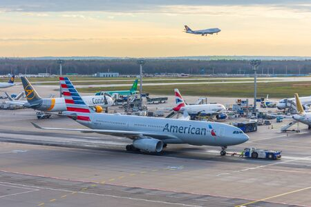 Airbus A330 American Airlines in airport push back tow. Frankfurt, Germany 17 December 2019