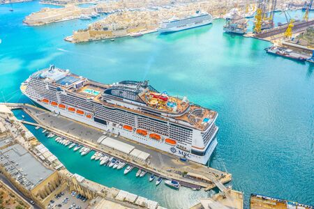 MSC cruise liner ship at the pier of the passenger port in Malta Valletta. 08 may 2019