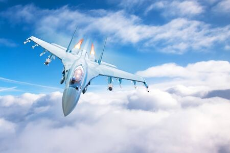 Fighter with acceleration and fire from engines flying above the clouds